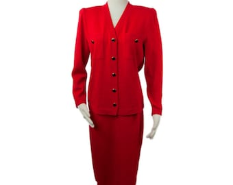 1970s St John Marie Gray Tomato Red Santana Knit 2 Piece Cardigan & A-Line Skirt Set Skirt Suit