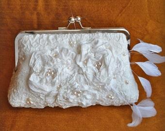 Wedding HandBag Clutch Bag Purse 30% OFF, Nuno felted Merino,Pure Silk,Victorian Roses, Feathers, Pearls, Ivory, AFFINITY Romantic OOAK