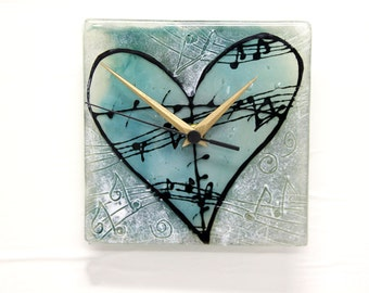 Musical heart Wall Clock, Fused glass art wall hanging  blue and white  tons painted Wallclock