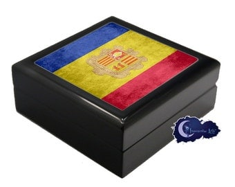 Flag of Andorra - Jewelry and Keepsake Box
