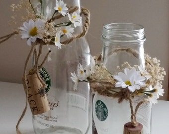Rustic Wedding table decorations Set of 2 daisy Centerpieces AmoreBride Wine Bottle Topper dried flower white twine bridal favor accessories