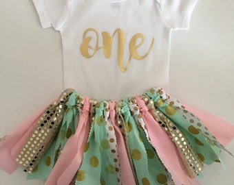 Pink Gold and Mint Fabric Tutu Skirt//First Birthday//Cake Smash Outfit//Tutu and Onesie//Tutu