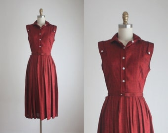 1950s merlot shirtdress