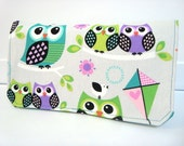 Coupon Organizer Wallet Cash Budget Organizer Holder- Attaches to your Shopping Cart - Colorful Hoot Owls