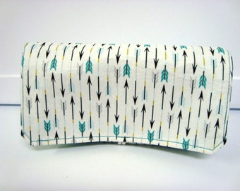 Fabric Coupon Organizer /Budget Organizer Holder - Attaches to Your Shopping Cart - Turquoise Arrows