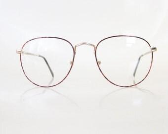Men's Round Glasses Italy 1980s Metallic Tortoiseshell Light Amber Rose 80s Eighties Guys Geek Chic Nerdy Indie Hipster Wire Rim Italian