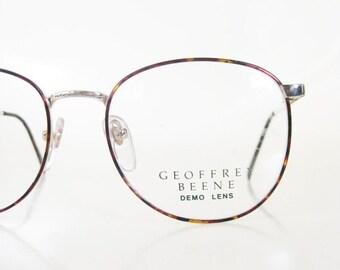 ON SALE Mens Round Wire Rim Glasses 1980s P3 Eyeglasses Metallic Tortoiseshell Gold Golden 80s Eighties Oversized Guys Homme Deadstock Nos H