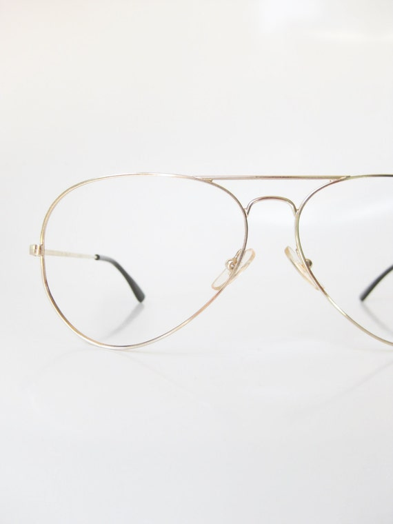 Gold Wire Eyeglass Frames : 1970s Mens Wire Rim Aviator Eyeglasses Gold Metallic Deadstock
