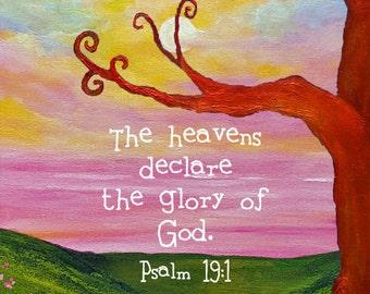 Framed Scripture Art Print Christian Gift Bible Verse Psalm 19:1 Sunrise