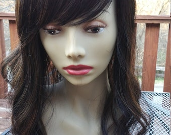 Brunette topper, wig, front and top hair loss, hair piece, wiglet, closure