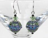 Lampwork Glass Bead Earrings, Glass Bead Earrings, Lavender Blue Green, Swarovski Crystals, Dangle Earrings, Sterling Silver