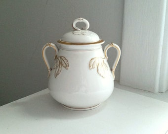 Antique Haviland China. Limoge . White and Gold Sugar Pot . France French