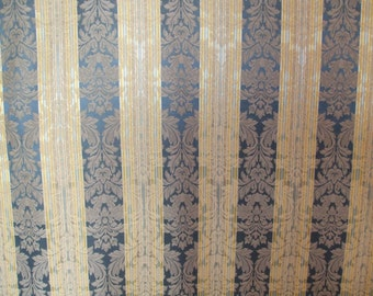 Elegant Gold and Blue Striped Upholstery Fabric, Drapery Fabric