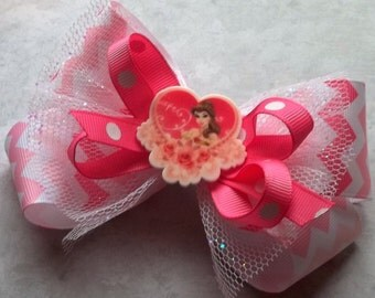 Glitzy Princess Belle boutique girls hair bow