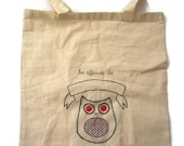 Personalized hand embroidered tote bag for children embroidery owl