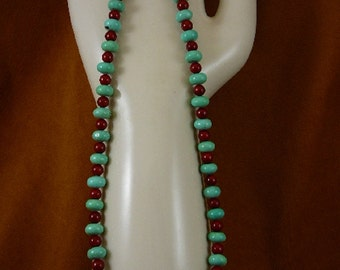 20 inch long 10x6 mm Chinese turquoise and red bamboo Coral gemstone Beads bead beaded Necklace jewelry V326-122