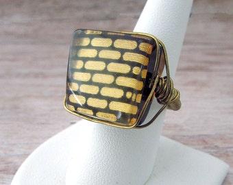 Art Deco Ring - Art Deco Dinner Ring - Art Deco Cocktail Ring - Art Deco Statement Ring - Art Deco Brick Ring - Gold Ring Art Deco - Brick