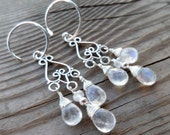 Beautiful Blue Flash Moonstone Sterling Silver Gemstone Chandelier Earrings
