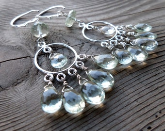 Prasiolite (Green Amethyst) Sterling Silver Long Wire Wrapped Statement Gemstone Birthstone Earrings