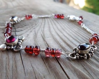 Garnet Gemstone and Birthstone Old Sterling Silver Wire Wrapped Bracelet