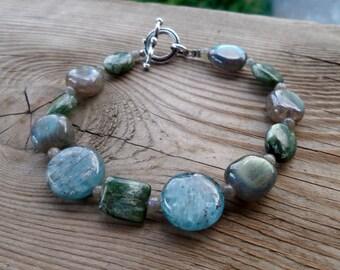 Genuine Seraphinite, Kyanite, and The BEST high flash Labradorite Sterling Silver Bracelet