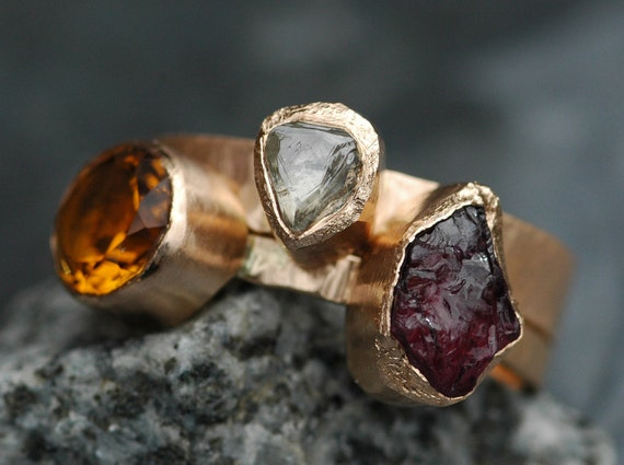 Custom Recycled Gold Stacking Engagement and Wedding  Ring Set- Rough Diamond, Citrine, and Rhodolite Garnet
