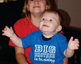 Big Brother In Training Shirt Available For Big, Bigger, Biggest, Baby, Little, Middle Sister And Brothers, Baby Shower Gift Idea, New Baby