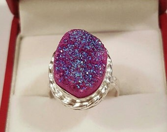 Sterling Silver and Pink Titanium Druzy Ring Size 7