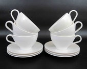 """Vintage 12 Piece Melamine Cup and Saucer Set in white by """"Royalon Inc"""" and Watertown"""". Mixed Set. Circa 1950's - 60's."""