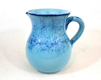 Vintage Blue Pottery Pitcher. Made in Italy. Circa 1960's.