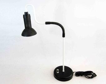 Vintage Modern Adjustable Desk Lamp in Black and White. Circa 1960's.