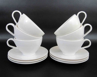"Vintage 12 Piece Melamine Cup and Saucer Set in white by ""Royalon Inc"" and Watertown"". Mixed Set. Circa 1950's - 60's."