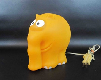Vintage Cartoon Elephant Lamp in Orange. Circa 1960's - 1970's.