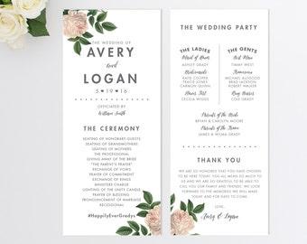 Wedding Program  // Vintage Inspired Wedding Program // Order of Ceremony // Rustic Wedding Program // Modern // Vintage Floral