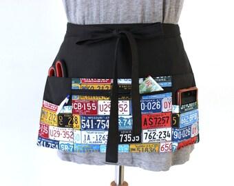 vendor apron - waitress apron - teacher apron - money apron - half apron - utility apron - zipper pocket - waist apron - cash apron - black
