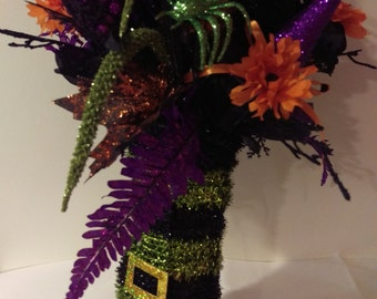 Whimsical Witches Boot Silk Floral Arrangement