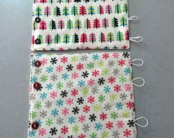 Winter Wine Cozy, Wine Wrap, Hostess Gift, Wine Gift, flannel wine wrap, snowflakes and trees