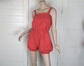 80s Red Romper- 1980s Coral Cotton Jumpsuit- Bloomers- Small- Beach