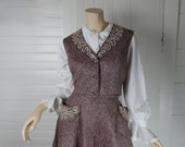 40s / 50s Sock Hop Felt Skirt & Vest in Dusty Rose- Poodle Skirt- Wool- 1940s Burgundy Suit