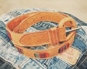 Vintage tan leather belt with Peruvian textile