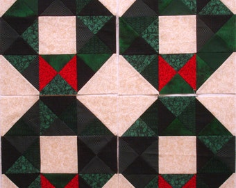 Christmas Wreaths with Red Bow Pieced Quilt Blocks