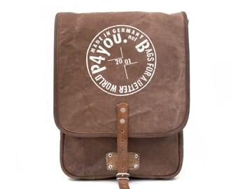 Brown Messenger Bag, Crossbody Bag, Canvas Bag, Unisex Bag, Notebook Bag, Recycled Canvas Leatherjacket Bag / Upcycled in GERMANY - 2160