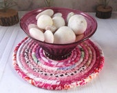 Coiled Hot Pad, Trivet, Candle Mat, Lamp Mat - Pink Bohemian - Handmade by Me