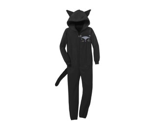Geo Black Cat Onesie - Fleece Hooded Zip Sweatshirt Lounger with Ears and Tail in Black - Unisex Size XS-4XL