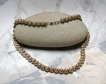 Classic Monet Signed Choker Necklace Small Textured Golden Balls Elegant Designer Signed
