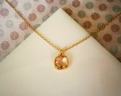 Blush Champagne Necklace, Petite Pendant Necklace, Gold Necklace, Simple, Everyday Jewelry, Bridesmaid Necklace