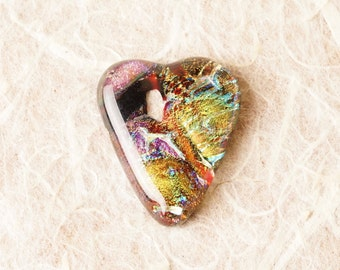 Handmade Dichroic Fused Glass Focal Cab Bead Pendant Necklace ...heart...