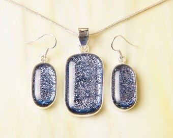 CoLoR ChanGiNg Dichroic Sterling Silver .925 Fused Glass Pendant Necklace Earrrings ...matching set...
