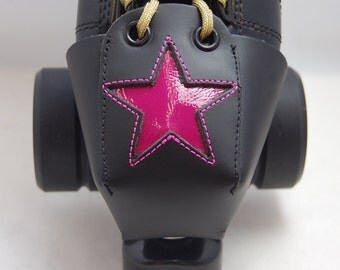Leather Toe Guards with Pink Patent Leather Stars
