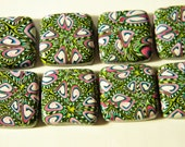 Polymer Clay Beads - Square Tile Beads - Handmade - Green Pink White Multi